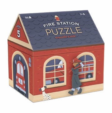 Crocodile Creek House Shaped Box Puzzle - Fire Station