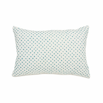 Auggie Cross-Stitch Decorative Pillow Cover in Ocean