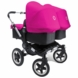 Bugaboo Donkey Twin Stroller in Black/Pink