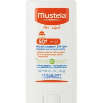 Mustela Broad Spectrum SPF 50+ Mineral Sunscreen Stick, .5 oz