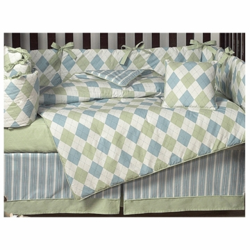 Sweet JoJo Designs Argyle Green & Blue 9 Piece Crib Bedding Set