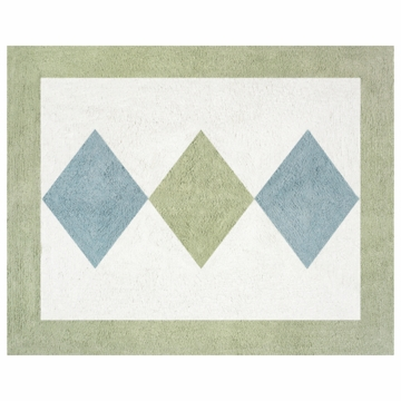 Sweet JoJo Designs Argyle Green & Blue Rug