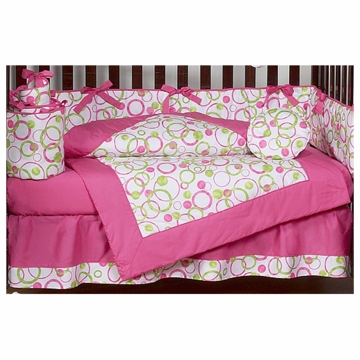 Sweet JoJo Designs Circles Pink 9 Piece Crib Bedding Set