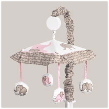 Sweet JoJo Designs Elephant Pink Musical Mobile