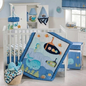KidsLine Blue Lagoon 8 Piece Crib Bedding Set