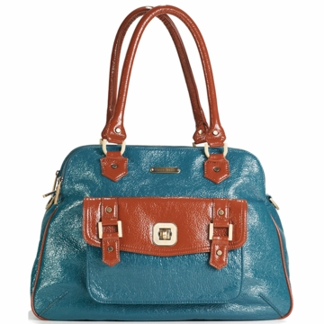 Timi & Leslie Sophia Diaper Bag in Aqua Blue/Rust