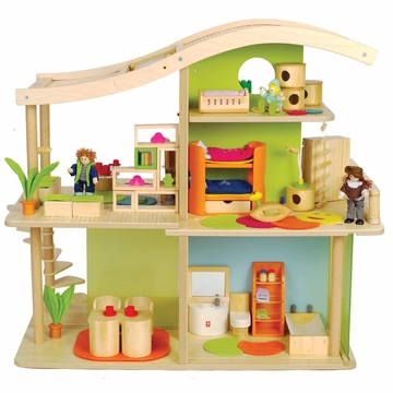 Hape Bamboo Sunshine Dollhouse (Furnished)