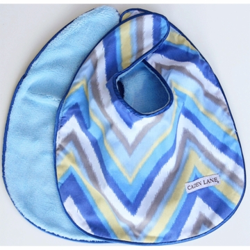 Caden Lane 2 Piece Bib Set in Blue Chevron