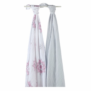 Aden + Anais 100% Cotton Muslin Swaddle - 2 Pack - For The Birds - Medallions & Grey