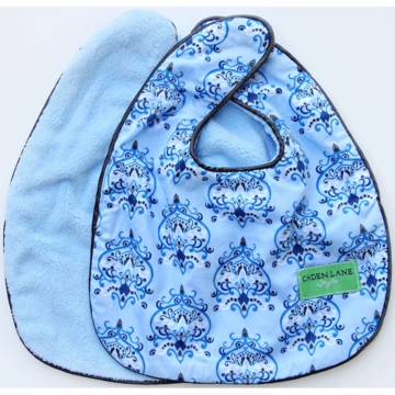 Caden Lane 2 Piece Bib Set in Blue Damask