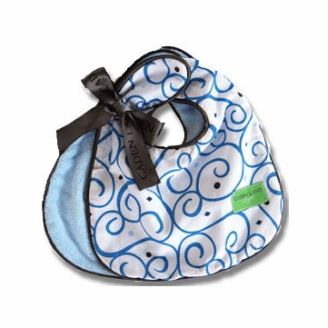 Caden Lane 2 Piece Bib Set in Blue Dark Swirl