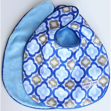 Caden Lane 2 Piece Bib Set in Blue Mod