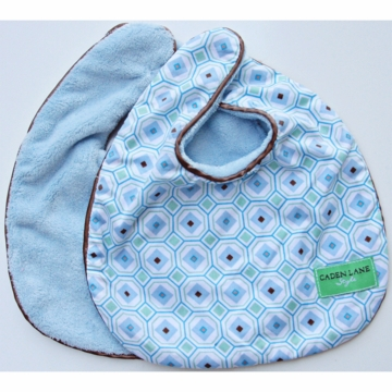 Caden Lane 2 Piece Bib Set in Blue Octagon