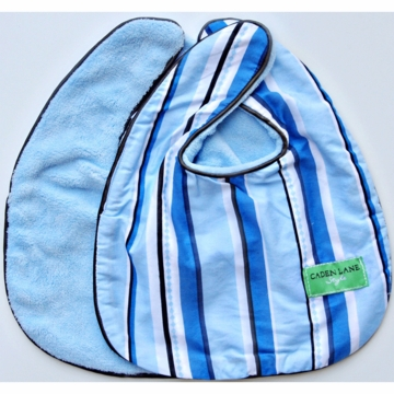 Caden Lane 2 Piece Bib Set in Blue Pinstripe