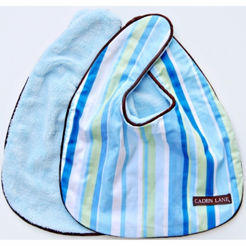 Caden Lane 2 Piece Bib Set in Blue Stripe