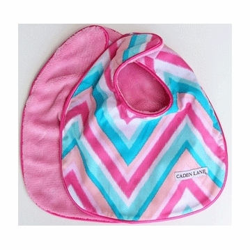Caden Lane 2 Piece Bib Set in Pink Chevron