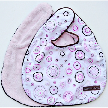Caden Lane 2 Piece Bib Set in Pink Circle Dot