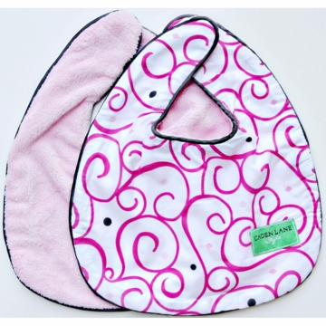 Caden Lane 2 Piece Bib Set in Pink Dark Swirl