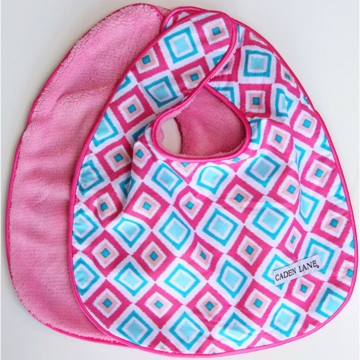 Caden Lane 2 Piece Bib Set in Pink Diamond