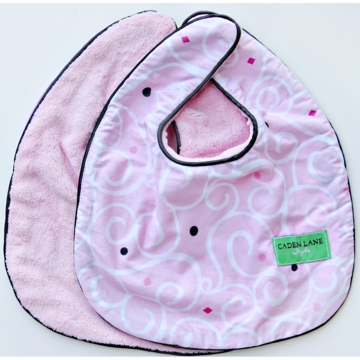 Caden Lane 2 Piece Bib Set in Pink Light Swirl