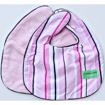 Caden Lane 2 Piece Bib Set in Pink Pinstripe