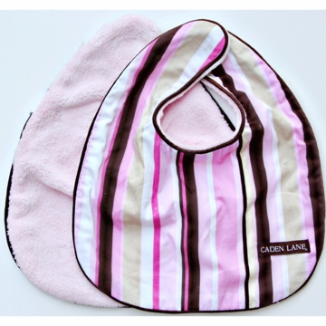 Caden Lane 2 Piece Bib Set in Pink Stripe