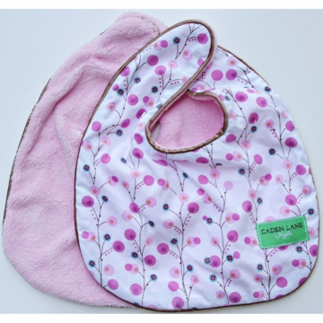 Caden Lane 2 Piece Bib Set in Pink Twiggy