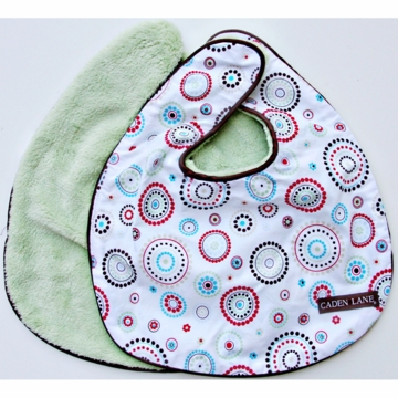 Caden Lane 2 Piece Bib Set in Red Circle Dot