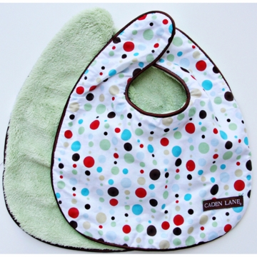 Caden Lane 2 Piece Bib Set in Red Dot Line