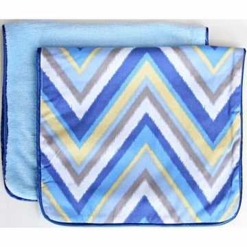 Caden Lane 2 Piece Burp Set in Blue Chevron