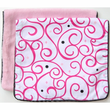 Caden Lane 2 Piece Burp Set in Pink Dark Swirl