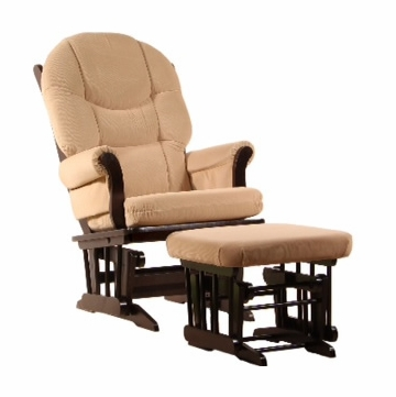 Dutailier Ultramotion Wood Glider and Ottoman - Espresso Finish