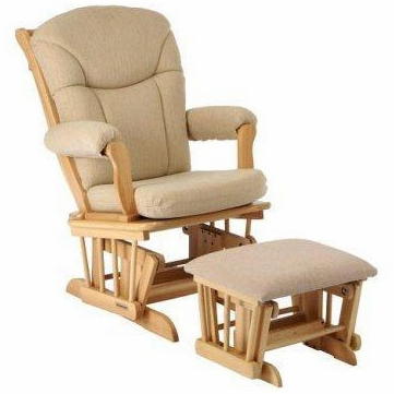 Shermag 37794CB Sleigh Glider and Ottoman - Natural
