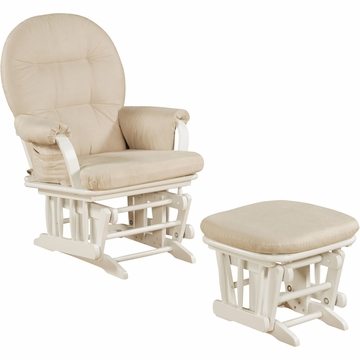 Shermag Glider and Ottoman in White - 37GR103-G2-0175