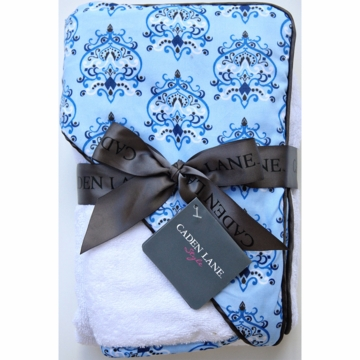 Caden Lane Hooded Towel Set in Blue Damask