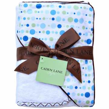 Caden Lane Hooded Towel Set in Blue Dot Line