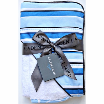 Caden Lane Hooded Towel Set in Blue Pinstripe