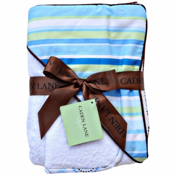 Caden Lane Hooded Towel Set in Blue Stripe