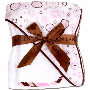 Caden Lane Hooded Towel Set in Pink Circle Dot