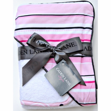 Caden Lane Hooded Towel Set in Pink Pinstripe