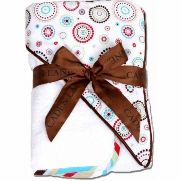 Caden Lane Hooded Towel Set in Red Circle Dot