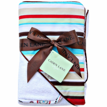 Caden Lane Hooded Towel Set in Red Stripe
