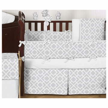 Sweet JoJo Designs Diamond Gray & White 9 Piece Crib Bedding Set