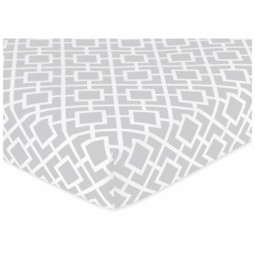 Sweet JoJo Designs Diamond Gray & White Crib Sheet in Diamond Print