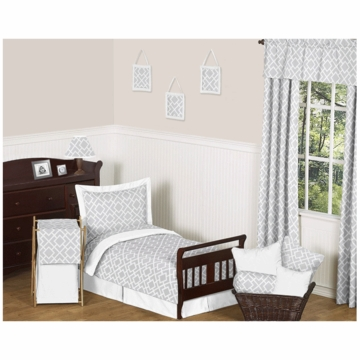 Sweet JoJo Designs Diamond Gray & White 5 Piece Toddler Bedding Set