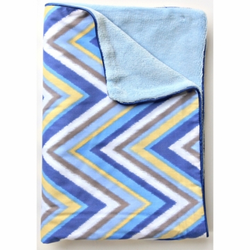 Caden Lane Piped Blanket in Blue Chevron