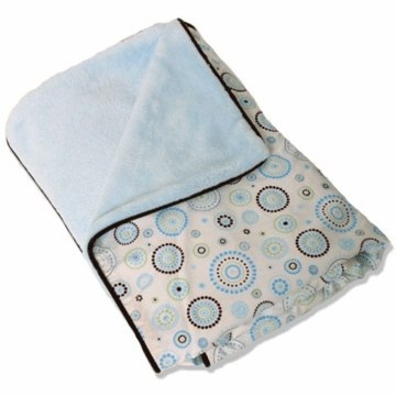 Caden Lane Piped Blanket in Blue Circle Dot