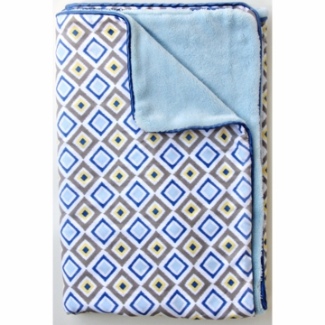 Caden Lane Piped Blanket in Blue Diamond