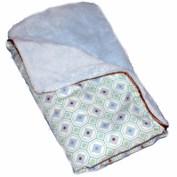 Caden Lane Piped Blanket in Blue Octagon