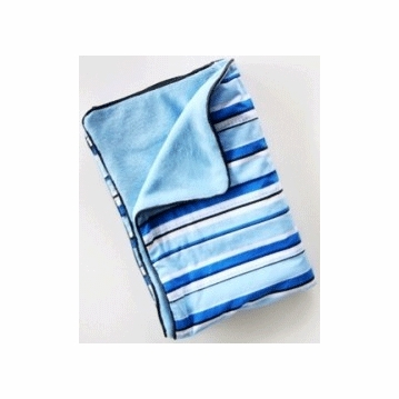 Caden Lane Piped Blanket in Blue Pinstripe